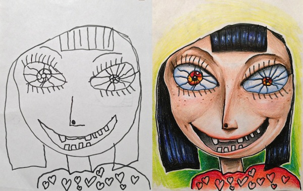 Creative dad colors in his kids drawings makes surprisingly awesome art